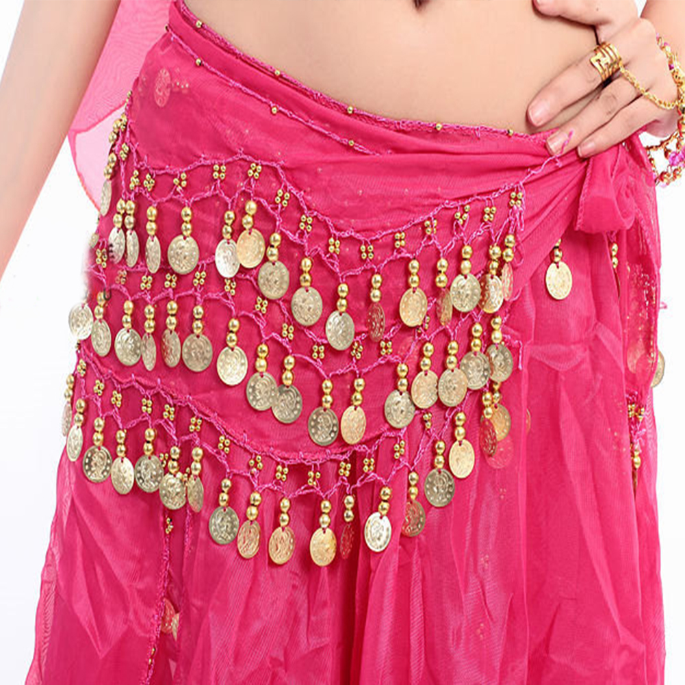 Women Sexy 3 Layers Coin Chain Belly Dance Hip Scarf Wrap Belt Belly Dancer Skirt Costume Chiffon Dancer Skirt For Ladies