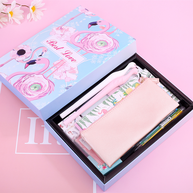 все цены на 13pcs Gift Box Stationery Flamingo Notebook Leather Notepad Washi Tape Pencil Case Sticker Gel Pen Cute Pocketbook Stationery онлайн