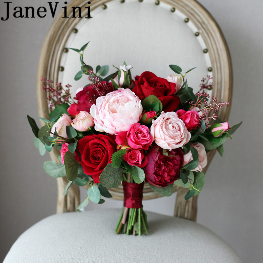 JaneVini Chinese Red Rose Wedding Bouquet For Bride Silk