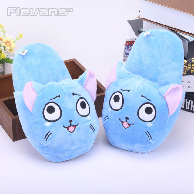 Fairy Tail Happy Plush Women Men Plush Slippers