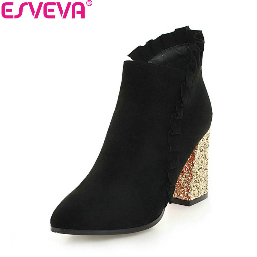 ESVEVA 2019 Women Shoes Zipper Western Style Ankle Boots Square Heels Pointed Toe Winter Boots Heel Bling Woman Shoes Size 34-43