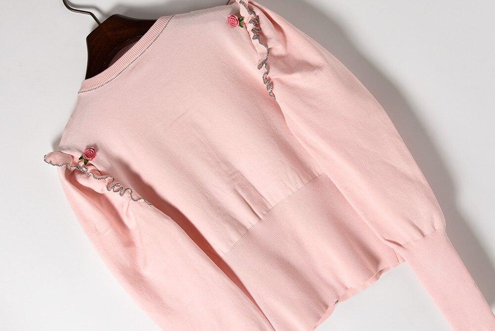 Femme Automne Chandail Doux Mode 2018 Cardigans Rose Streetwear Jumper Bouton Wang Pull Femmes Floral Whitney Printemps qwRxtSZxp