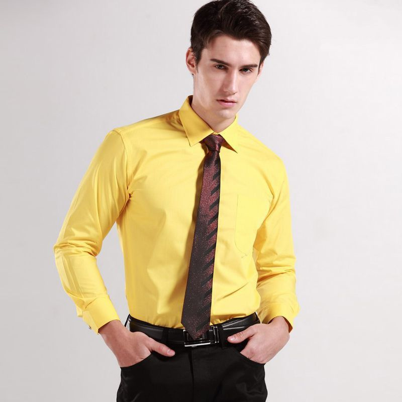 Top quality solid cotton mens dress shirts yellow mens for Men s regular fit shirts