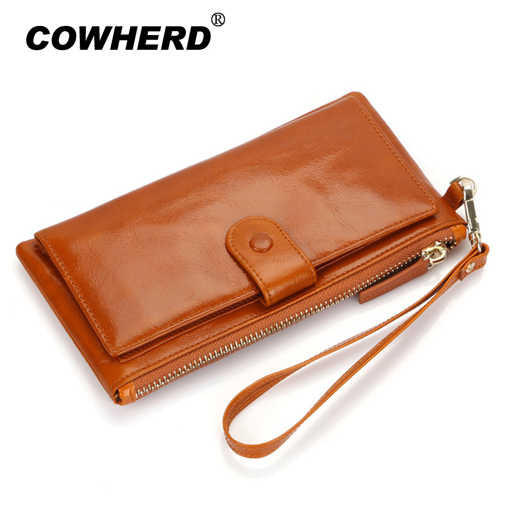 Best Quality! Women Oil Wax Genuine Cowhide Leather Long Zipper Wallet Lady Fashion Clutch Purse Bag With Strap 7 colors 2153 new arrival button wallet lady multifunctional purse long style zipper hasp oil wax cowhide closure huge capacity fashion han