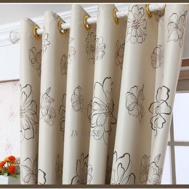 Korea Stylish Drapes Beige Curtains For Living Room,Window Simple Printed  Shade Cloth Fabric For