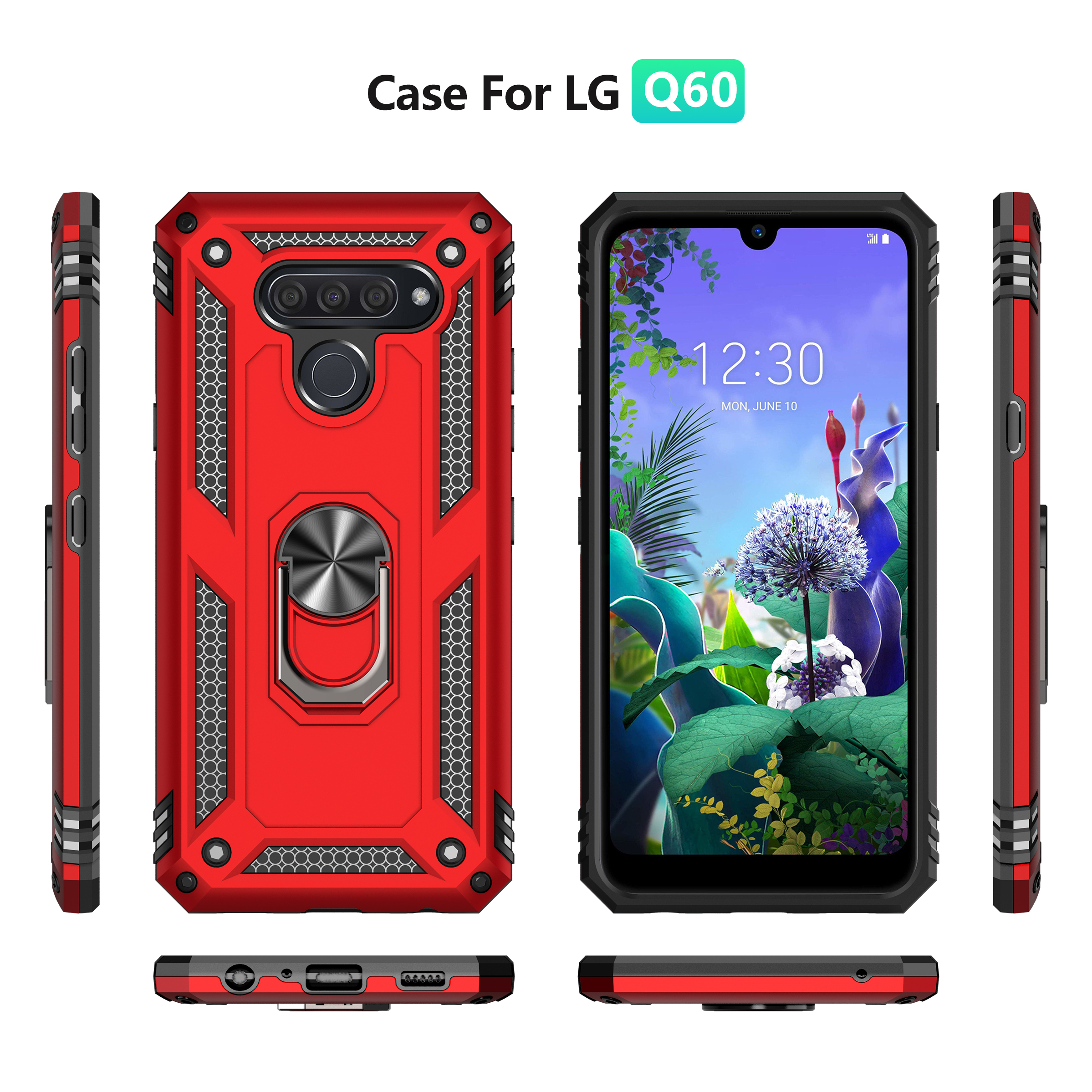 for LG K51 Case Magnetic Car Mount Kickstand Back Cover Rugged Durable Heavy Duty Shockproof Hybrid Bumper Anti-Scratch Holder Hard Shell Compatible with LG Q51-Red