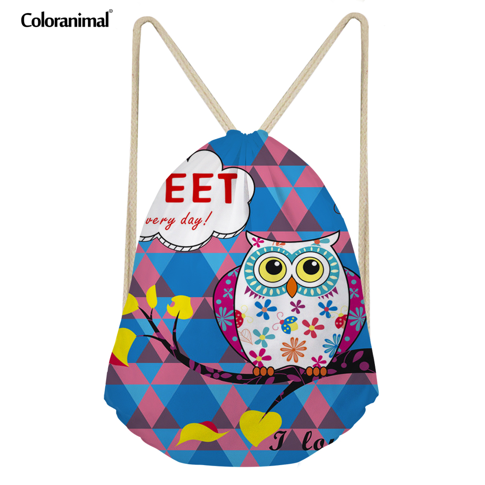 Coloranimal Drawstring Bag Cartoon Owl Women's Backpacks 3D Colorful Printed Fashion School For Girls Ladies Beach Stoage Bags