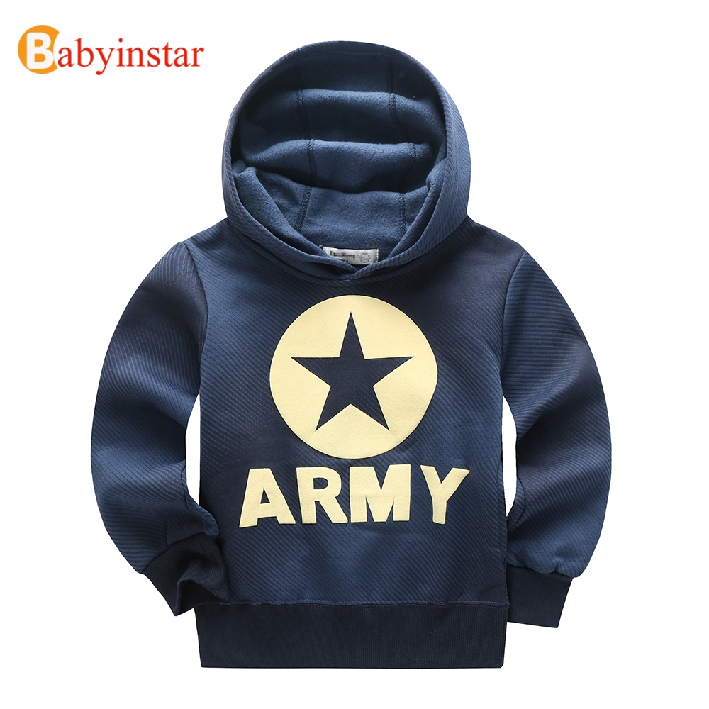 Babyinstar 4-16Yrs Children Hoodies for Boys Spring Star Pattern Hooded Sweatshirt Outerwear Leisure Kids Comfortable Hoodies