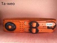 Fashion Women Dress Genuine Leather Belts, Mid waisted 7.5cm Wide Leather Belt For Women, Stylish & Elegant Coat Belts