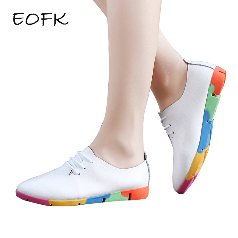 EOFK 2018 Spring Women Flat Shoes Casual Fashion Leather Comfortable soft shoes Women's Flats Oxfords Shoes Woman Zapatos Mujer vtota women genuine leather oxfords sneakers women white flat shoes spring platform shoes zapatos mujer lace up casual flats f93