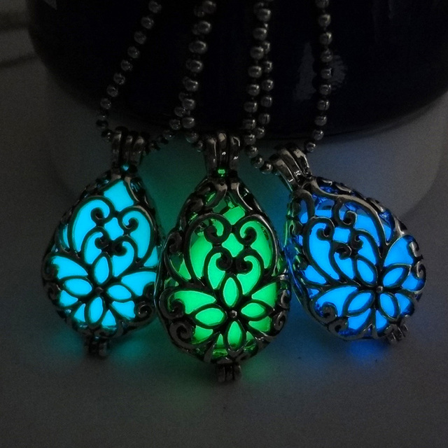 Christmas gifts hollow out fluorescent flower glowing stone christmas gifts hollow out fluorescent flower glowing stone necklaces pendant jewelry silver color glow in the aloadofball Images