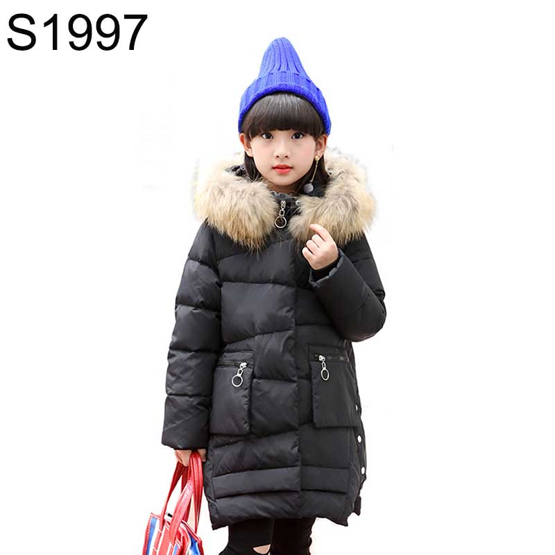 Girls Winter White Duck Down Jackets Children Long Patten Coats  Kids Warm Thick Down Outerwears Teenager Warm Jacket -30 degree kids clothes children jackets for boys girls winter white duck down jacket coats thick warm clothing kids hooded parkas coat