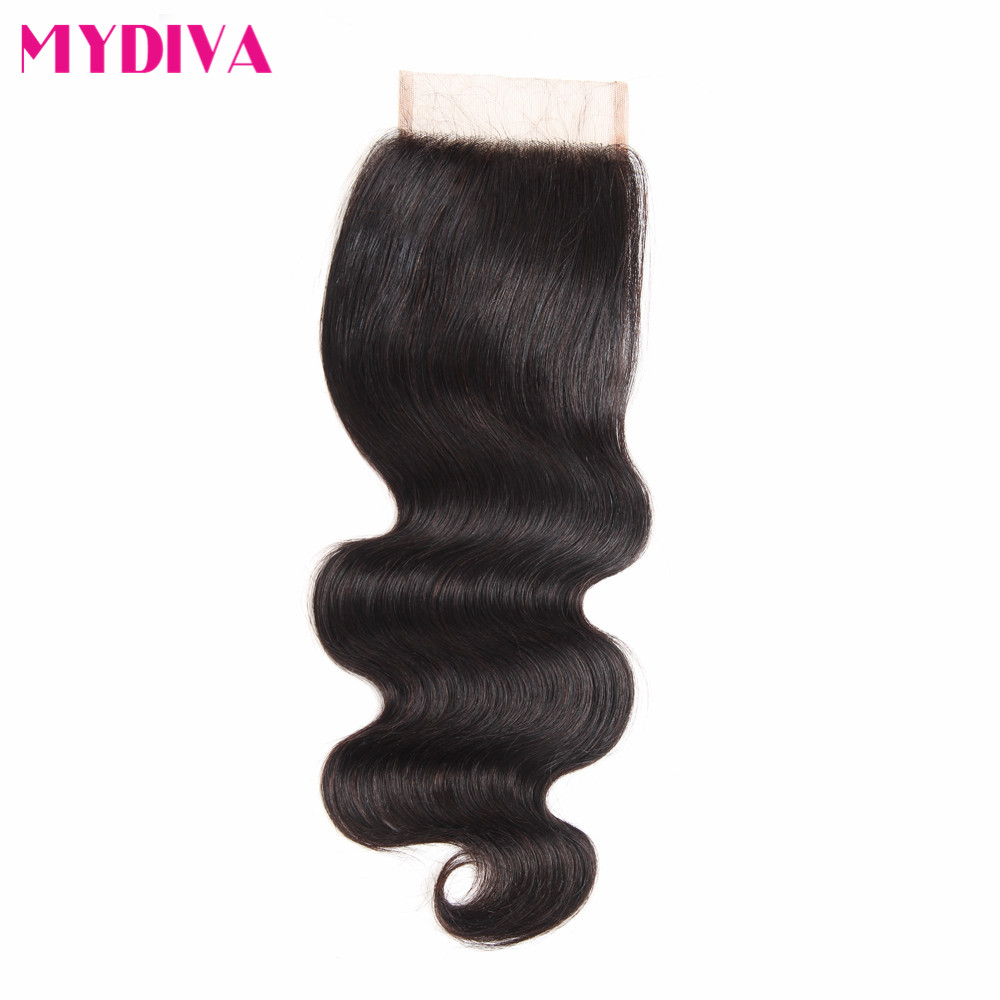 Peruvian Body Wave Lace Closure 4*4 Inch Middle/Free/Three Part Swiss Lace Closure With Baby Hair Non Remy Human Hair 8-20 Inch