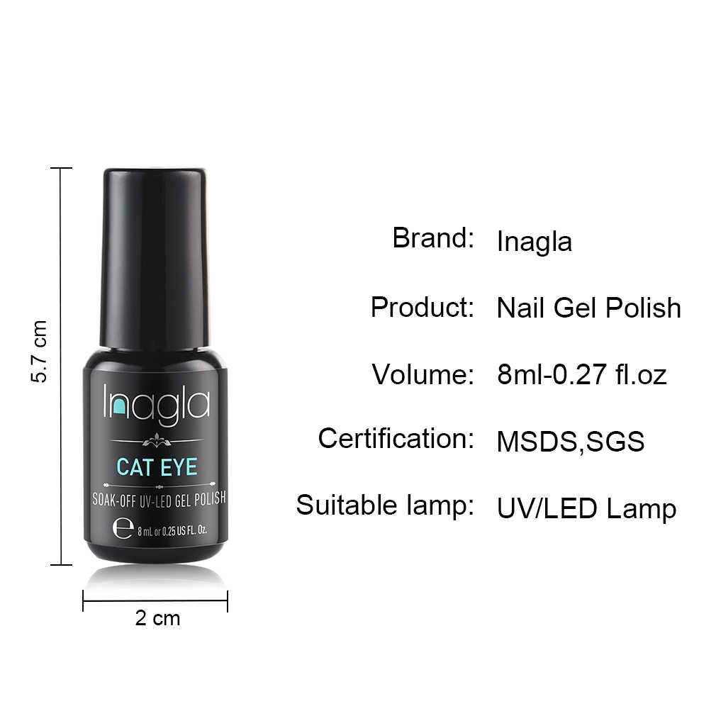 Inagla 8 Ml Galaxy Cat Kuku DIY Glitter Kuku Seni Sinar UV Lampu Galaxy Efek Kucing Mata Gel Cat Kuku Panjang terakhir 3D Magnetik Lacquer