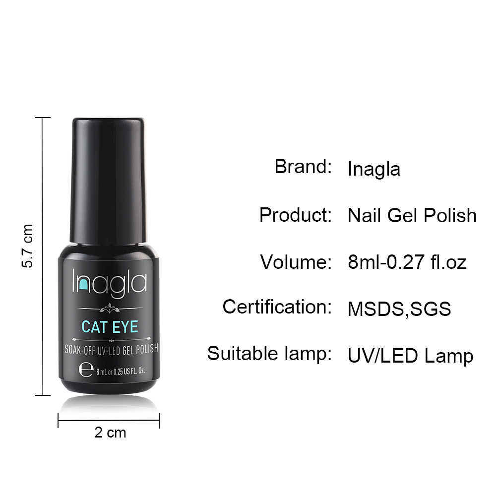 Inagla 8ML Galaxy Nagellack DIY Glitter Nail art UV Lampe Galaxy Wirkung Katze Augen Gel Nagellack Lange letzten 3D Magnetische Lack