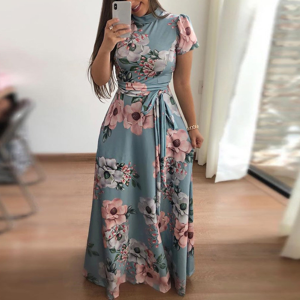 Womens High Waist Butterfly Print Short Sleeves Asymmetrical Strappy Dress Toponly