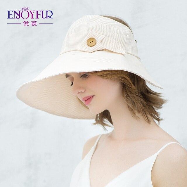 d43865c3e7c9b ENJOYFUR Summer Sun Hats For Women Big Brim Open-top Visor Sun Hats  Ponytail Beach Hat Foldable And Easy To Carry