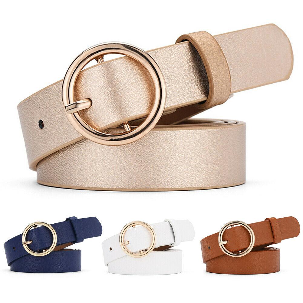New Women Ladies Girls Fashion Chic Metal Leather Round Buckle Solid Waist   Belt   Waistband For Women