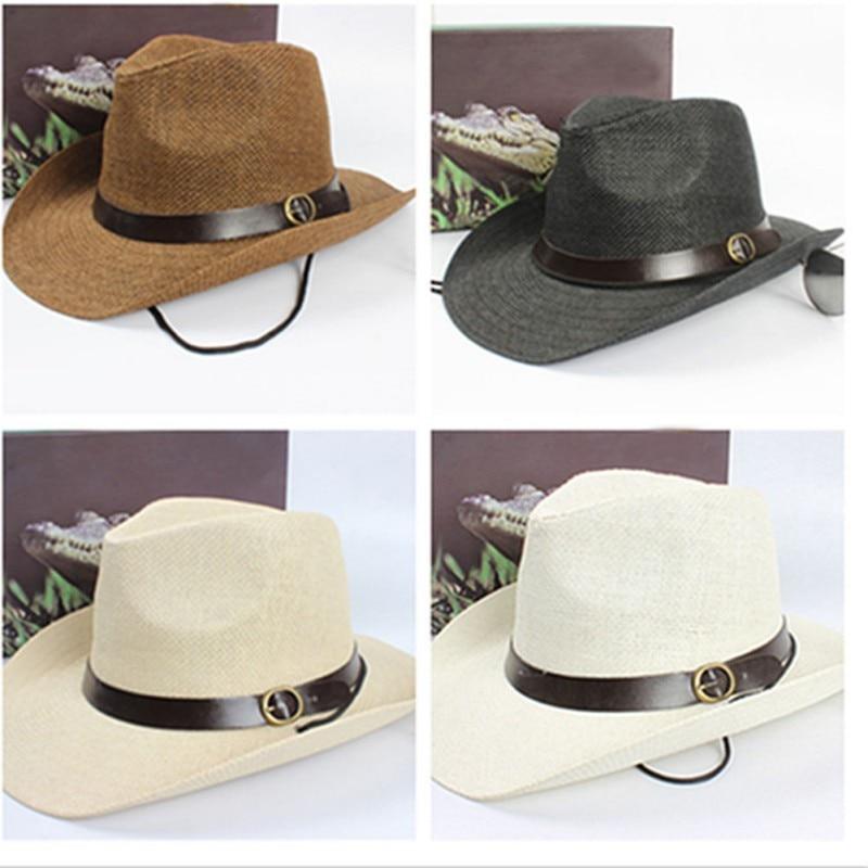 ≧Chic unisex mujeres/hombres cowboy Trilby sombrero de paja de ala ...