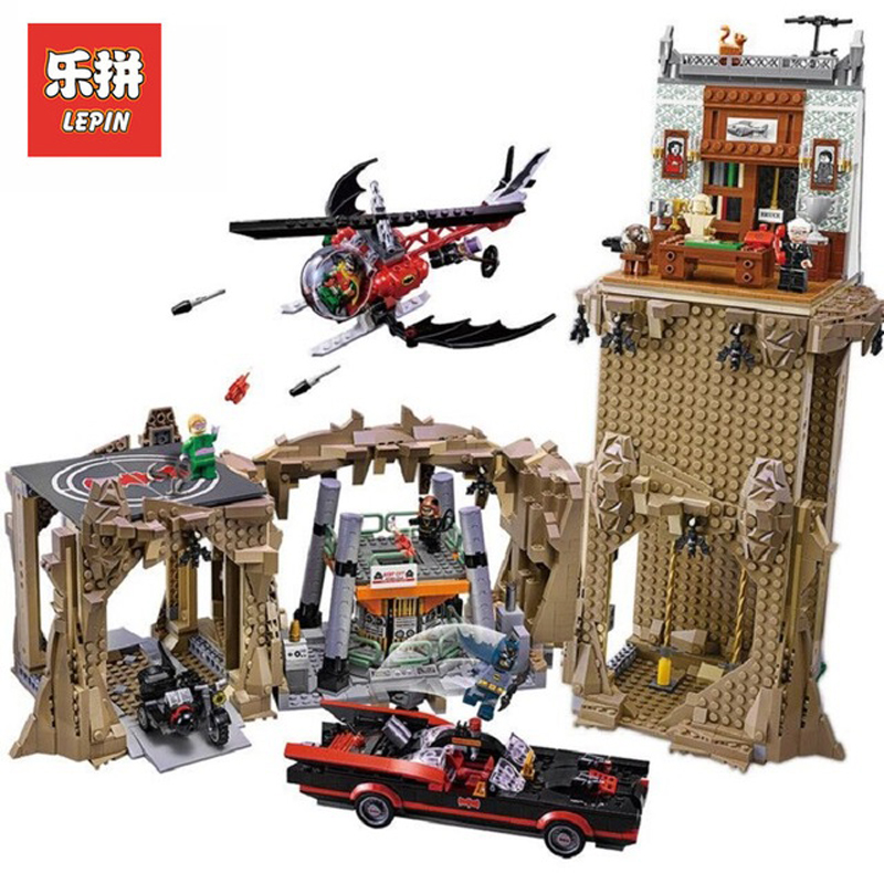 DHL Lepin Sets 07053 2566Pcs Super Hero Figures Batman Classic TV Series Batcave Model Building Kits Blocks Bricks Toys 76052 2566pcs genuine dc batman super heroes moc batcave educational building blocks bricks toys gift for children 76052