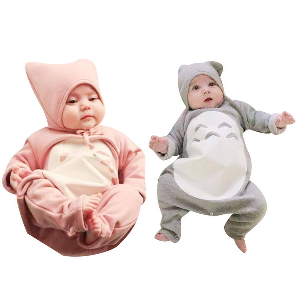 Newborn Jumpsuit Baby Cartoon Long Sleeve Romper With Hat Cap Baby Boy Girl Clothes Infant Totoro Animal Rompers One-piece baby rompers 2016 newborn body baby boy girl clothes jumpsuit long sleeve infant onesie product turn down collar romper costumes