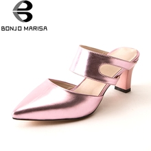 BONJOMARISA 2017 Summer Mature Pointed Toe Mules Patent Med Square Heel Women Shoes For Leisure Big Size 32-43