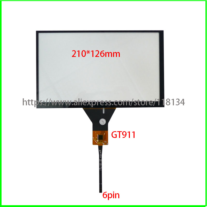 211*126/6 Line 1024*600 Touch Screen Ribbon Cable 9 Inch Capacitive Touch Screen Car DVD Navigation Screen/GT911 6 Pin