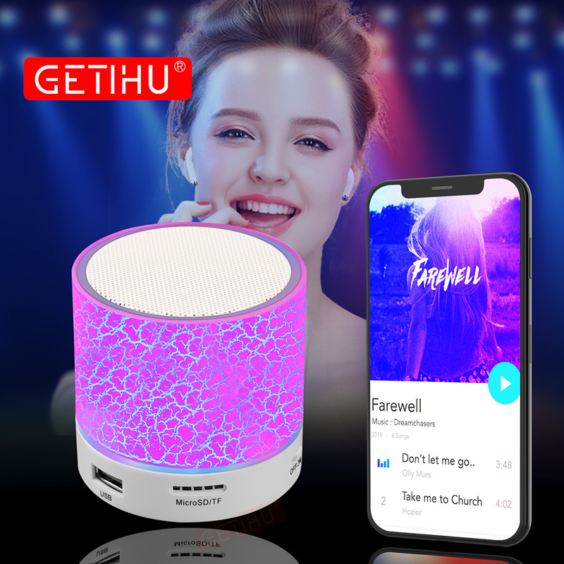 GETIHU Column LED Mini Wireless Bluetooth Speaker TF USB FM Portable Speakers Sound Music Hand free For iPhone X 6S PC with Mic