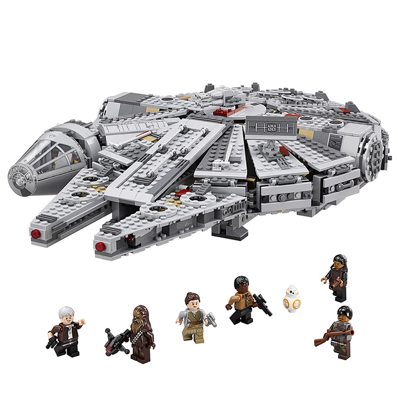 Lepin 05007 Star series Millennium Falcon Assembling Building Blocks Bricks Educational wars Toys Compatible With lego 75105 стоимость