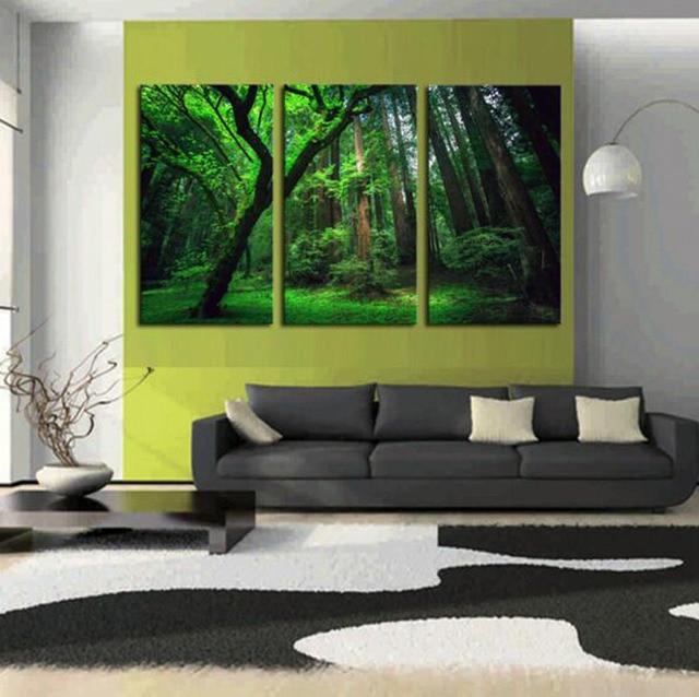 Neue Design 3D Grünen Baum Landschaft Druck 3 Stücke Leinwand Gemälde  Wohnzimmer Elegante Bilder