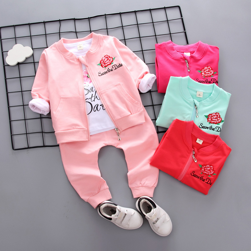 1dbb771ae125 2018 New Autumn Children suits zip coat+T-shirt+trousers 3pcs set ...