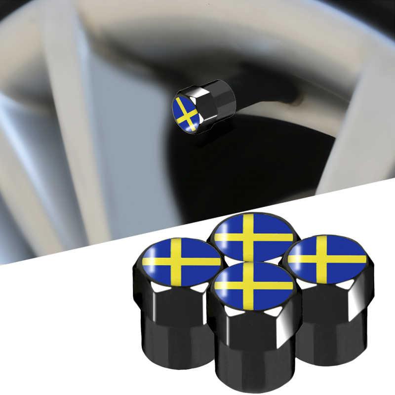 4 adet karbon siyah yeni stil araba jant lastik vana kapağı lastik toz kapağı İsveç rozeti Volvo V40 V60 S60L s80 XC80 XC90 aksesuarları