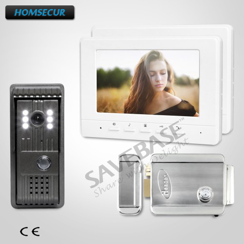 HOMSECUR Russia Delivery Color 7inch Hands-free Video Door Entry Call System 1V2