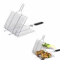 BBQ Barbecue Grill Basket Grilling Basket Pan for for Fish,Vegetables Griller Grid Grate Roast for Steak, Shrimp,Chops,BBQ Tool