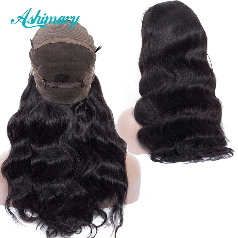 Pre Plucked Full Lace Human Hair Wigs Remy Brazilian Body Wave Wig Full Lace Wigs with Baby Hair Natural Hairline  Ashimary
