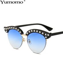 Cat Eye Sunglasses Women New Fashion Pearl Eyebrows Glasses Powder Blue Gradient Metal Retro Shades Mirror Round De Sol Gafas стоимость
