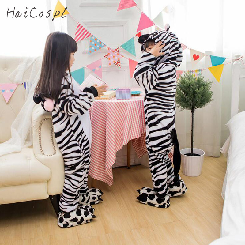 Kids Pajama Zebra Onesie Boy Girl Kigurumi Animal Cosplay Costume Winter Warm Flannel Soft Fancy Night Sleepwear Cute Cartoon