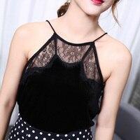 Women's Sexy Tops For Lady Top Nylon Feme Velvet Lace Top Black Female Lingerie Ladies Camis Lace T Shirt Black Elastic Solid