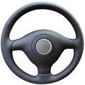 Preto de couro artificial cobertura de volante para volkswagen vw golf 4 passat b5 1996-2003 seat leon 1999-2004 polo 1999-2002