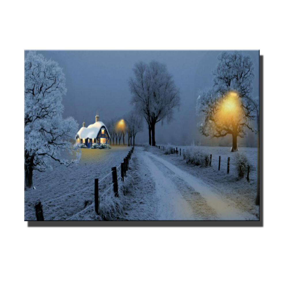 Canvas art wall art with led lights canvas print village cottages street lamp in winter wall decor picture canvas painting in painting calligraphy from