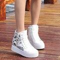 Primavera novo estilo de alta top sapatos de lona plataforma estilo coreano altura crescente zíper lateral femininos sapatos casuais diárias ST798