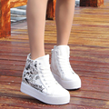 Spring new style high top platform canvas shoes Korean style height increasing side zipper female daily casual shoes ST798