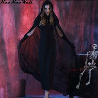Masquerade Carnival Party Wear Ghost Bride Long Black Dress Halloween Women Vampire Cosplay Zombie Costume with Cloak & Gloves