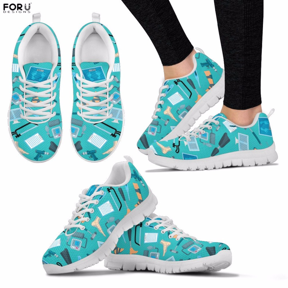 FORUDESIGNS Women Shoes Orthopedic Pattern Sneakers Casual Spring Walking Shoes Teenager Girls Breathable Flats Lace-up Shoes forudesigns 3d flowers pattern women casual sneakers comfortable mesh flats shoes for female girls lace up shoes zapatos mujer