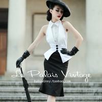 Europe And America HepburnElegant Black And White Slim Fish Tail Skirt Set Formal Dress Twinset Business