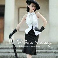 Europe and America HepburnElegant Black And White Slim Fish Tail Skirt Set Formal Dress Twinset Business Attire Lady Top+Skirt