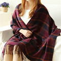 Korean Style Fashion Women Winter Plaid Knitted Wool Tassel Long Scarves Shawls Wraps Pashmina New