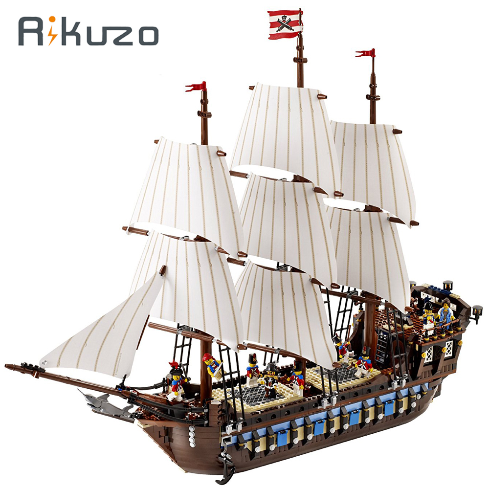Rikuzo 1717pcs Imperial Warships Mod Pirates of the Caribbean Ship Model Toys Compatible legoing 10210 lepin DIY Toys Gift hot classic movie pirates of the caribbean imperial warships building block model mini army figures lepins bricks 10210 toys