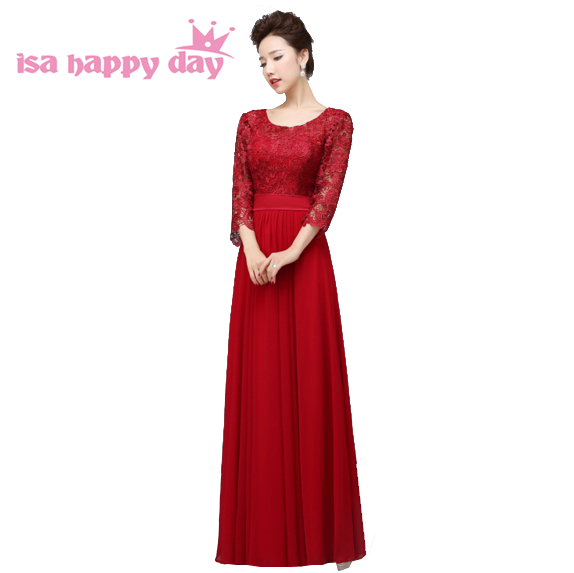 b0b270aaa0ea red wine emerald green formal 3/4 sleeve evening dress fushia mother of the  bride lace party dresses long robe xxl gown W2909