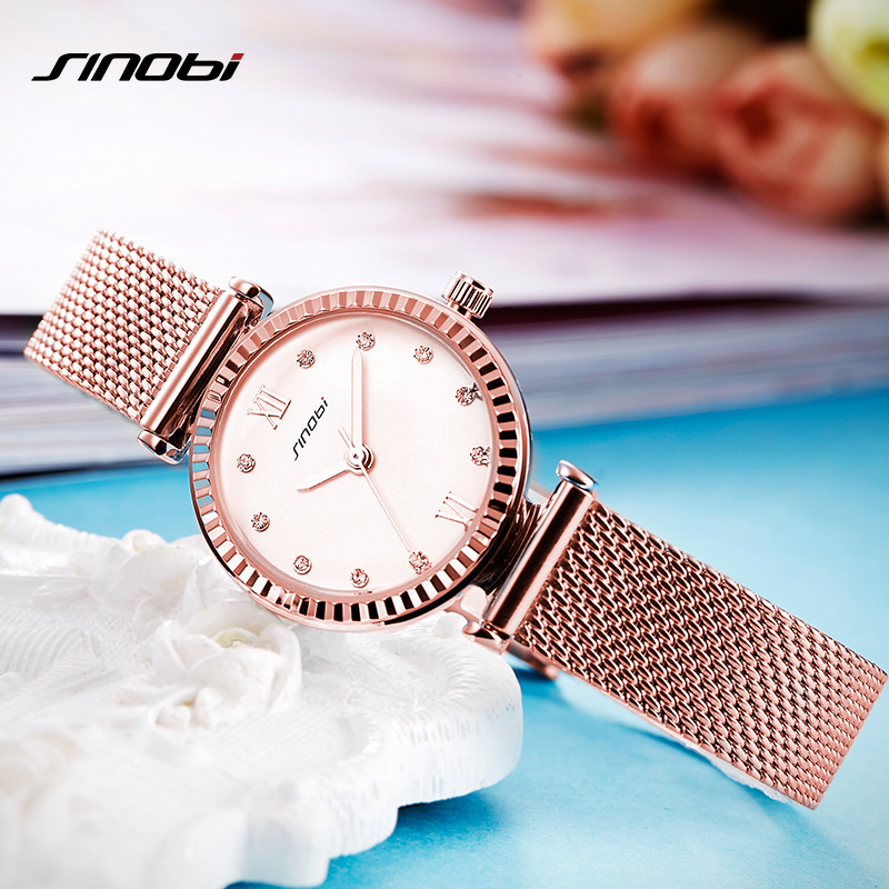 SINOBI Women Watches Brand Luxury Diamond Gold Watch Ladies Quartz Wristwatch Women Clock Relogio Feminino Relojes Mujer 2017 relogio feminino sinobi watches women fashion leather strap japan quartz wrist watch for women ladies luxury brand wristwatch